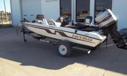 1996 Nitro 170 DC bass boat equipped with Mercury 115 hp outboard motor and Minn Kota All Terrain 12V trolling motor with 55 lbs. thrust. Boat includes Lowrance X-51 @ dash, 2 fishing seats, radio, livewell and single axle trailer. 3 person capacity.