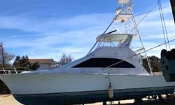(LOCATION: North Carolina) This Ocean 48 Super Sport is a big, brawny, fishing machine with aggressive styling, roomy accommodations, and potentially exceptional performance. This is a three-stateroom sportfisherman with an flybridge, tower, and spacious