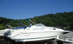 1996 Rinker 265 Fiesta Vee Inclusive Features: ? AM/FM/Cassette ? Anchor w/Chain ? Battery ? Bimini Top ? Carpeting ? Compass ? Depth Finder ? Dinette ? Fire Extinguisher ? Head with Holding Tank ? Microwave ? Refrigerator ? Shower ? Speedometer ? Spot