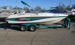 1996 Rinker 212 Captiva equipped with Mercruiser 4.3 V-6 inboard/outboard motor. Boat includes bimini top, snap cover, rear ladder, depth finder, radio, 2 bank battery charger, dual battery cable with switch, compass, CB radio, tilt steering and tandem