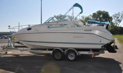 1996 Rinker fiesta Vee 265Boat was rack stored at lake of the Ozarks all its life.New cabin upholsteryMercruiser 5.7 260 Hp New trailer available for sale