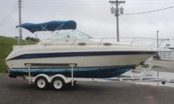 1996 SeaRay 250 Sundancer ? Mercruiser 350 Mag ? Double Bimini Tops ? Remote Spotlight ? Windshield Wiper ? Bottom Paint ? Trim Tabs ? Cockpit Table ? Lowrance GPS Navigation ? AM/FM Stereo ? Bravo III Dual Prop ? Compass Marine VHF Radio ? Enclosed Vac-U