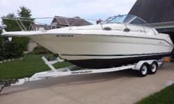 New Listing Nominal Length: 27' Length Overall: 27.3' Max Draft: 3' Engine(s): Fuel Type: Other Engine Type: Stern Drive - I/O Draft: 3 ft. 0 in. Beam: 8 ft. 6 in. Fuel tank capacity: 100 Water tank capacity: 24