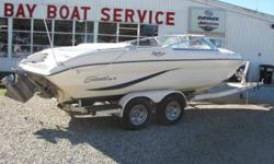 """This 22' Sea Swirl """"220 Spyder"""" is powered by a 5.8L EFI Volvo stern drive engine, and has a tandem axle trailer. Open bow, 8 person capacity, large sun deck. Includes table, bow filler cushion, and bow tonneau cover. Beam: 8 ft. 2 in. Stock number: PA"""
