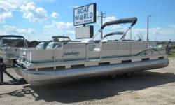 1996 Sweetwater 24' Pontoon & 90HP Nissan Motor. Motor Runs Great! This Trade In Pontoon Features Two Front Swivel Fishing Seats And Two Front Bench Seats With Storage, Wrap Around Bench Seating With Additional Storage, Rear Swivel Fishing Seats, Rear