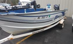 MOTOR GUIDE 52RF LAZER II TROLLING MOTOR, SHORELAND'R TRAILER, 2 SEATS/4PEDESTALS, FIRE EXT., LIVEWELL, MOTOR TOTER, ROD STORAGE, SPARE TIRE, START BATTERY, TACKLE COMPARTMENT.ADDED ( 3-16-18 ) 40 EVINRUDE TILLER WITH POWER TRIM. MOTOR WAS JUST FRESHLY