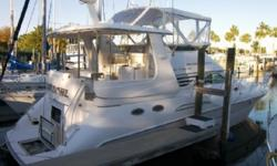 Overview Sea Ray produced a sleek aft-cabin yacht introduced in 1996 which created a stir with her sleek styling and spacious interior. Three-staterooms (very rare in a 42 footer!) with a comfortbable salon. She sports acrylic aft-deck wing doors, wet bar
