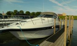 New Canvas Autopilot Air conditioning Draft: 2 ft. 11 in. Beam: 11 ft. 7 in. Fuel tank capacity: 225 Water tank capacity: 51 Holding tank capacity: 30 Hull color: White/Blue Compass; Stove; Boat cover; Vhf radio; Stereo; Bimini top; Shore power; Gps