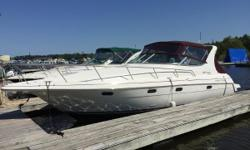 The 3375 Esprit is a fantastic cruiser that has been well kept and maintained. The extended swim platform makes it easy to get on board. in the cockpit, you're met with bench seating with its own table. Across is a wet bar and refrigerator. Across from