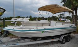 1997 23' Huricane Deck Boat, 200HP Johnson, Bimini top, Nice seats, Runs great, Aluminum trailer. 727-862-0776 Antonietti Marine Beam: 8 ft. 6 in.