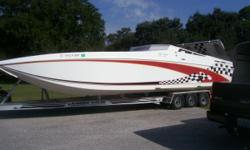 1997 Oceans Express 33 Super Sport,RECENTLY REDUCEDTwin Merlin 540 CI 2 hours, Bravo performance outdrives. Interior needs to be completed. Has skins and foam. 90+ MPH comes with custom trailer. Please call for appointment to see.