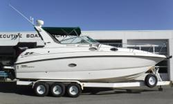 Vessel has ONLY been in fresh water! Twin Volvo Penta 5.7 GSi 310 hp fuel-injected engines, aprx 841 port hours & 756 starboard hours Compression in 9/2017: 130-145 lbs. Twin Volvo DuoProp sterndrives w/stainless props Metal Craft 3-axle trailer