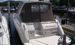 Always on lake Winnipesaukee and professionally maintained (was not used until 1999 season). Stored inside off season. Has many options: anchor power winch with all chain, cockpit ice maker, dealer installed Regal extended swim platform, queen size