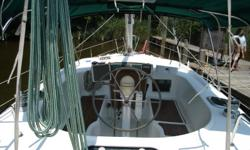 One-owner boat well-equipped for cruising with generator, dual air-conditioners and heat. The enclosed cockpit and one-level interior offer great security and ease under sail. Layout has great storage capacity and headroom. This is a great boat for solo