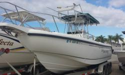 Just In On Trade 1998 Boston Whaler Powered By Twin Mercury 225 EFI Outboard Motors. Equipped With Crows Nest, Lowrance Elite 7 GPS / Fish Finder, VHF Radio, Older Garmin GPS / Fish Finder, Swim Ladder, Trim Tabs, Windlass And Bow Dodger. Trailer Not
