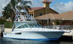 This 45 Cabo Express is a very well equipped and updated proven fish raiser, with large cockpit and roomy 1 stateroom interior layout. Her notable features include:  Twin 800hp Caterpillar 3406e upgrade Air conditioned bridge deck Spray rails for