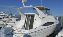 (LOCATION: Miami FL) The Carver 350 Mariner is a full-bodied family cruiser with roomy interior and lots of on-deck space with foredeck lounge, flybridge seating for eight, and casual cockpit seating. With on-deck seating for many it's the perfect