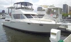 Stunning display of interior styling and remarkable use of space, this motor yacht with spacious salon, two staterooms, and two heads with separate stall showers will not disappoint. All new canvas and carpet, and twin Crusaders with only 100 hours.