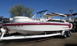 1998 23' Eliminator 236 EAGLE XP in excellent condition. Beautiful red/blue/white details. Equipped with 502 MPI Mercury Bravo 1 out drive. This boat runs up to 70mph! WOW! Amazing!! Come on down to Cowboys Marine to check it out! Beam: 8 ft. 3 in. Hull