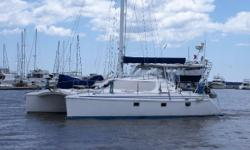 """This three-cabin Manta 40 is in nice condition, with every piece of cruising equipment imaginable, including a 2013 Caribe 11' 6"""" RIB, and 15HP Yamaha 4S outboard on davits. She is outfitted to cruise the islands in comfort, and be fully self"""