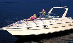 32' | Maxum 3200 SCR | 1998 Surprisingly spacious express cruiser! Kohler generator Heat & Air-conditioning Windshield walkthrough for easy bow access Low engine hours Large aft cabin w/ rear facing window Full canvas enclosure with Strataglass
