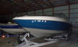 Lets go cruising Beam: 8 ft. 4 in. Standard features: rated for 10 persons, includes tandem axle trailer with brakes and spare, cover, bow filler cushions, 2 in floor storage lockers, port side helm porta potti, stainless steel prop, tilt wheel