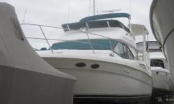 The 370 combines a rakish profile with comfortable accommodations and good offshore performance. Sea Ray designers were able to incorporate a spacious and very inviting interior. The fiberglass covered aft deck has a built in wet bar and plenty of room