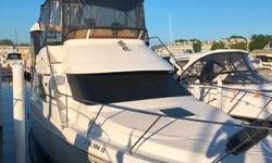 This boat is equipped withtwin Crusader XL454 CIDengines (410 hours), Raymarine c120 color plotter, Westerbeke generator (108 hours), underwater lights, hot water heater, transom shower, 2 burner stove, dinghy davits, 2 stereos, fridge