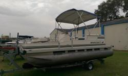 Popular Center Console pontoon! Includes Mooring Cover, Bimini, Spare Tire, (2) Six Gallon fuel tanks, Humminbird Wide 100 Fish Finder all included. Nominal Length: 18' Engine(s): Fuel Type: Other Engine Type: Outboard Stock number: NY2503US