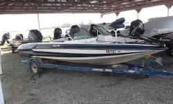 1998 Stratos 201 FS Fish/Ski combo, 20' length, '96 Mariner 200hp outboard, Motorguide FW-FB 71lb thrust trolling motor. Single-axle trailer w/spare. Nominal Length: 20'