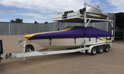 REALLY COOL COMBO OF A 1998 VIP VINDICATOR AND TWO JET SKIS ON ONE TRAILER. TRAILER CANTILEVERS TO LAUNCH JET SKIS. PACKAGE INCLUDES THE TRAILER, ONE 1996 YAMAHA WAVE BLASTER, 1996 YAMAHA WAVE VENTURE. 1998 VINDICATOR WITH 7.4 MERCRUISER