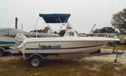 1998 Wellcraft 190, Come and look at this well maintained 1998 WellCraft 19' White 190 Center Console. With 115 HP Johnston motor, Bimini, live well, rod holders, bow filler cushion, flip flop seat w/ cooler, compass, GPS, depth finder, comes with
