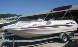 """NO Trailer. All upholstery has been redone at some point, other than the captain seat. Call Steve at 1-877-613-2628. Stock ID: 0012Specs Length Overall (LOA): 20' 1"""" Category: Powerboats Water Capacity: 0 gal Type: Deck Boat Holding Tank Details:"""