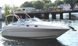Boat has been cleaned and serviced regularly. New canvas, new carpet, repl. engine has less than 200 hours. Galley has cook top, frig, microwave. Head has shower, sink and vacuflush. AM/FM radio with CD and remote cockpit control. Carbon Monoxide