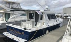 Owner Just Droped price 10k to 109000 Great Boat !!! Great Day Cruiser, Fishing vessel and live board. Powered by a single Yanmar 6CXM-ETE (420 HP). The Accommodations include a large swim platform with a transom door. Large cockpit with fish box and an
