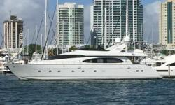 This 1999 Azimut 85Ultimate wasoriginallydelivered to the U.S. new and then spent the last few years cruising the Med. Now back in Miami, Florida, the owners have herseriously for sale. She has a 2008 385 Williams Jet Tender