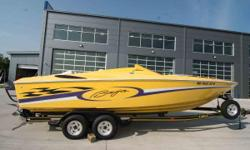 """1999 Baja 25 Outlaw with a Mercruiser 500 EFI / 470hp and Bravo I drive with trailer. LOA: 25'/ Beam: 8'2"""" / Weight: 4,750 pounds / Color: Yellow / Hours: 548  1999 Baja 25 Outlaw with Mercruiser 500 EFI motor in good shape and ready to go. Upgraded"""