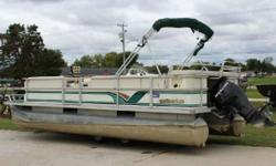 1999 Crest Pontoon with a 2008 Mercury F40HP Engine 1999 Crest Pontoon with a 2008 Mercury F40HP Engine. No Trailer with this pontoon. Take a look at the pictures! This is a consignment pontoon. Has a cover but the cover is not in too good of shape.