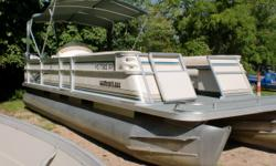 This boat is in good condition for its age. The 75hp Mercury has power to pull tubes with the ski tow built into the boat. There is a bimini top so you can stay out of the sun on those hot days. Beam: 8 ft. 6 in. Boat cover; Bimini top;