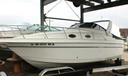 USED BOATFEATURESFiberglass ArchCockpit CoverHydraulic Trim TabsGPSCompassDepth FinderStereoMicrowaveElectric StoveIce MakerFresh water SinkBuilt In Ice BoxRefrigeratorMarine HeadSwim LadderAir ConditioningBattery SwitchEvery effort has been made to list