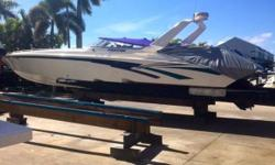 (LOCATION: St. Petersburg FL) This lightly used 42 Fountain Lightning is an affordable introduction to high performance boating. This beauty has been dry stored over its lifetime, professionally maintained, and features totally rebuilt engines including