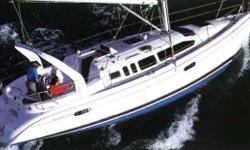 The Hunter 340 is a great cruising sailboat for the family or single-handed sailor.Designed for ease of useand safety, with all control lines leading aft to the cockpit. In herthe large cockpit, she has comfortable dry seating for the