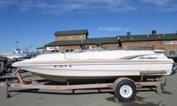 1999 Hurricane FD201 I/O, - Mooring Cover - Bimini Top- Side Console - Bow Swimplatform- Bow & Stern Boarding Ladders- Snap in Carpet - Trailmaster Trailer Nominal Length: 20' Stock number: C2
