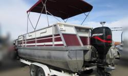 It?s a JC TRITOON with New Upholstery!! You?re gonna love the nice new upholstery and the layout of this very clean tritoon! It?s powered by a 115 Mercury outboard motor (with a full marine service by our #1 certified marine technicians) and comes with a