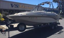 This 1999 Larson Escape213 Deck Boat is ready for some family fun in the sun. Whether you want to ski, tube, wake board, catch some fish, catch a tan, or just plain relax with the family this boat can do it all. Call today (805) 466-9058, email
