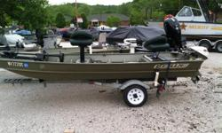 THE GREAT OUTDOORS MARINE - THE FUN STARTS HERE! This is a 1999 Lowe 1446 jon boat with a Johnson 10hp 2-stroke tiller-handle outboard and a 1999 B&M single axle galvanized trailer. The boat has 2 fishing seats, a MinnKota 40# 12V tiller-handle trolling