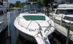 WELL MAINTAINED AND CLEAN CRUISER THAT HAS PAMPERED BY PROFESSIONAL DETAILSERVICE COMPANY.MECHANICAL SERVICE DONE LOCAL MARINA SINCE NEW. ONLY 619 HRS. ON ENGINES. 7KW GENERATOR,FULL RAYTHEON ELECTRONICS AND MUCH MORE. OUTSTANDING CRUISER AT A VALUE