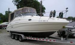 Clean boat with newer canvas, upholstery, and carpet. Has a newer triaxle aluminium trailer. Beam: 8 ft. 6 in. Compass; Depth fish finder; Stove; Boat cover; Vhf radio; Stereo; Bimini top; Shore power; Gps loran; Fridge; Shower; Camper canvas; Swim