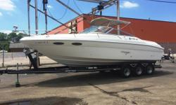 This boat is equipped with twin Mercruiser 350 mag engines, Bravo 1 drives, Heritage triple axle trailer, brakes, new cockpit cover, windlass anchor, bimini top, battery switch, onboard charger, head, and more!1,046 engine hours. Nominal Length: