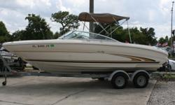 MUST SEE Under 101 motor hours Beam: 8 ft. 6 in. Standard features: Bimini Top Full cover and side curtain Top boot, Tonneau cover and Canvas storage bag Finished fiberglass floor with snap in carpets for easy cleaning Lockable Passenger Glovebox Lorrance